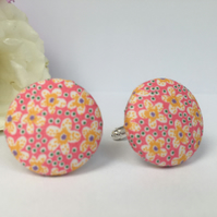 Liberty Button Cufflinks - Tana Lawn Fabric Pink with Yellow Flowers