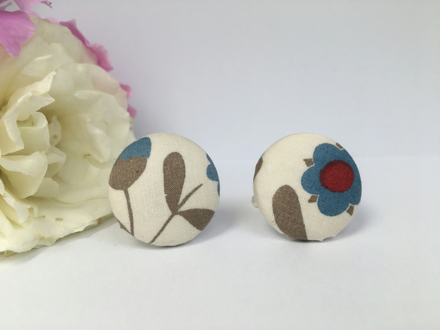 Liberty Button Cufflinks - Tana Lawn Fabric in Ochre, Blue and Red