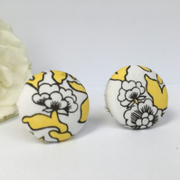 Liberty Button Cufflinks - Tana Lawn Fabric White With Bright Yellow Leaves