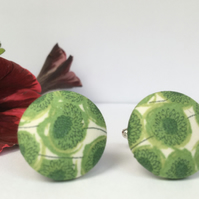 Liberty Button Cufflinks - Tana Lawn Fabric with Green Daisies - Gorgeous Gift