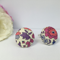 Liberty Button Cufflinks - Tana Lawn Fabric with Pinks and Purples