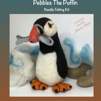 Pebbles the Puffin Needle Felting Kit