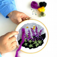 Felted picture kit Lupins