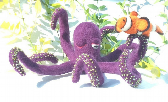 felted Octopus and Clown fish