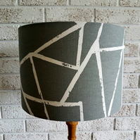 Grey and White Geometric Fabric Lampshade, Grey and White Contemporary Lampshade