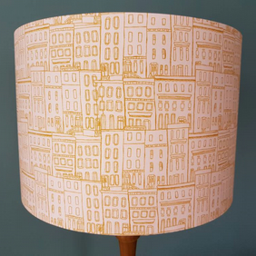 Pink and Golden Brown Terraced Houses Lampshade. Abstract print fabric.