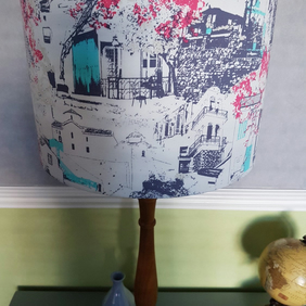 Abstract art print lampshade, street scene, exotic print lampshade