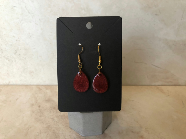 Rich wine red teardrop earrings with gold plated hook