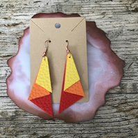 Bright faux leather earrings - triangle stacked red, orange and yellow