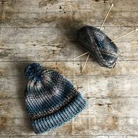 Grey blue knitted bobble hat