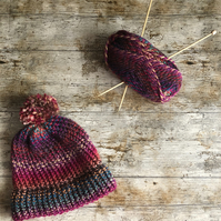 Gorgeous multicoloured autumnal chunky knit bobble or beanie hat