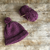 Chunky knit purple bobble or beanie hat - hand knitted to order