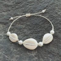 Cowry shell waterproof friendship bracelet, Slide knot bracelet