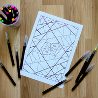 Fractures Artistic Adult Colouring Sheet Coloring Page with Geometric Pattern