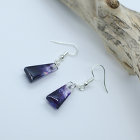Handmade Resin Earrings with Black Purple Clear Long Trapese Shape Iridescent