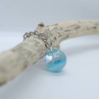 Handmade Sea Blue Resin Keyring with Iridescent Effect