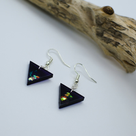 Handmade Resin Earrings in Aubergine Purple Colour with Triangle Shape