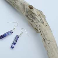 Handmade Resin Earrings with Purple Black Clear Long Trapese Shape Iridescent