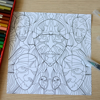 STR1NGY - Artistic Adult Colouring Sheet with Faces Eyes Characters Download JPG