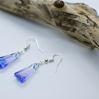Handmade Resin Earrings with Purple Clear Long Trapese Shape Iridescent Effect