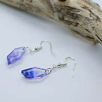 Handmade Resin Earrings with Purple Gem Shape Shape Clear Iridescent Effect