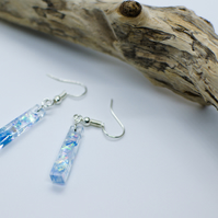 Handmade Resin Earrings with Iridescent Long Trapese Shape Clear