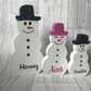 Freestanding snowman family, decorations, personalised christmas ornaments