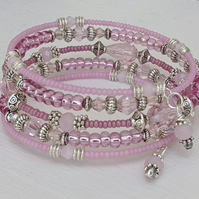 Pink and silver beaded memory wire bracelet