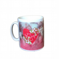 Mum Hearts And Flowers Design Mug. Mothers Day, Birthday Gift Mugs.