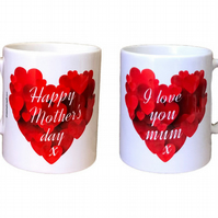 Happy Mother's Day x  I Love You Mum x Mug. Mothers day mugs