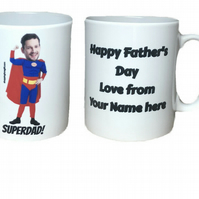 Personalised Superdad! Mug. Add Dad's head and your name. Mugs for Dad.