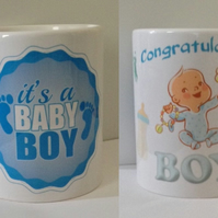 "Baby Boy Mug - ""Congratulations It's a Boy"""