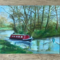 Canal Boat and Kingfisher Acrylic Painting, Original