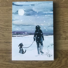 Pack of x10 WinterChristmas Greetings Cards, Walker and her Dog