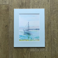 Limited Edition Gliclee Print of Watercolour Yacht Seascape in Mount