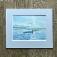 Limited Edition Gliclee Print of Watercolour Seascape with Mount