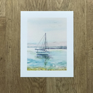 Watercolour Print of Yacht Seascape