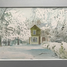 Wintery Village Scene, Original Watercolour Painting