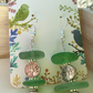 Green sea glass tree of life bead earrings