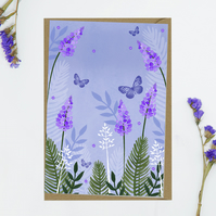 Lavender Floral and butterfly Blank Notecard notecards greeting cards
