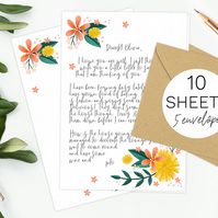 10 Sheets of floral writing paper & 5 envelopes gift set pretty flowers design