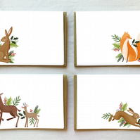 32 Sheet writing paper & 16 kraft envelopes Letter box Gift Set Woodland animals