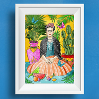 Bright & colourful Mexican inspired Frida Kahlo Artist Print Wall Art