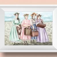Watercolour Little Women Illustration print for your wall