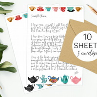 10 Sheets of tea party writing paper & 5 envelopes gift set vintage teapot