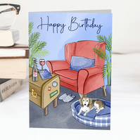 Happy Birthday Relaxing with the dog & wine Greeting Card