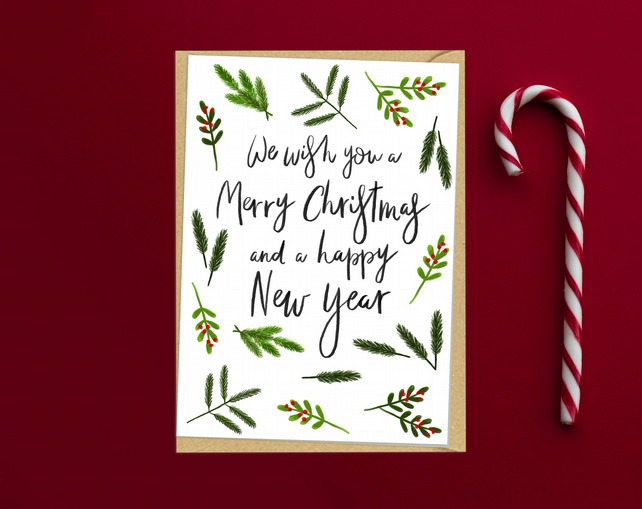 Green Foliage We wish you a merry christmas and... - Folksy