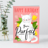 Floral Happy Birthday Pink cat greeting card