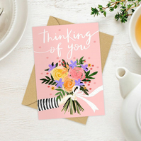 Pink floral Thinking Of You flowers greeting card