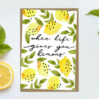 Pretty When life gives you lemons Blank Notecard greeting card